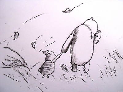 Niagra Falls Drawing - Pooh And Piglet by Jessica Sanders