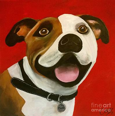 Dog Caricature Painting - Pookie The Dog by Caroline Peacock