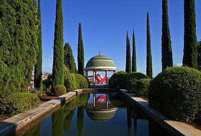 Pool And Temple With Art Art Print by Panoramic Images