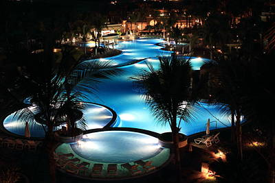 Dark Photograph - Pool At Night by Shane Bechler