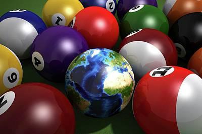 Pool Balls Photograph - Pool Balls And The Globe by Leonello Calvetti