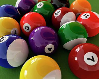 Bright Colours Photograph - Pool Balls by Leonello Calvetti