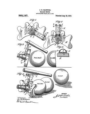Billiard Drawing - Pool Bridge Billiards Patent by Dan Sproul