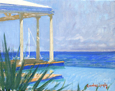 Infinity Pool Painting - Pool Cabana Morning by Candace Lovely
