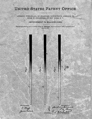 Billiard Drawing - Pool Cue Patent Charcoal by Dan Sproul