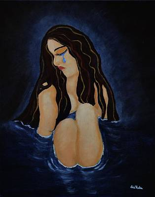 Lady In The Water Painting - Pool Of Sorrow by Iris Forbes