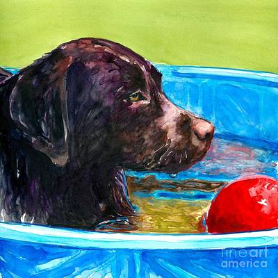 Lab Puppies Painting - Pool Party Of One by Molly Poole