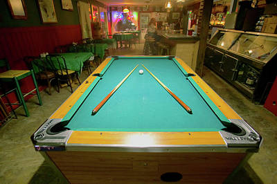Billiards Photograph - Pool Table Lit By Electric Lights by Panoramic Images