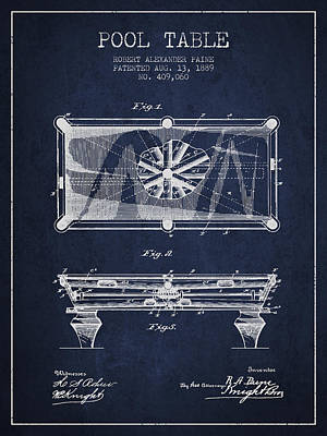 Antique Maps - Pool Table Patent from 1889 - Navy Blue by Aged Pixel