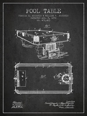 Billiard Stick Digital Art - Pool Table Patent From 1892 - Charcoal by Aged Pixel