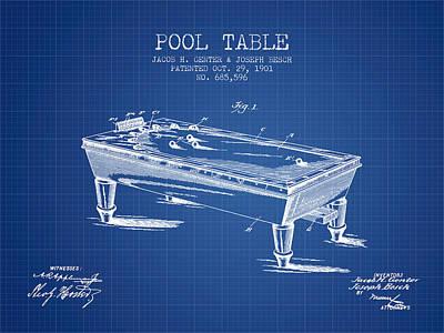 Billiard Sticks Digital Art - Pool Table Patent From 1901 - Blueprint by Aged Pixel