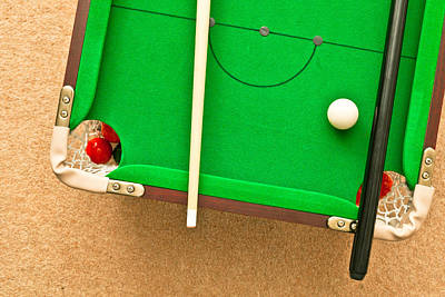 Cue Ball Photograph - Pool Table by Tom Gowanlock