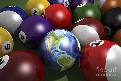 Terra Digital Art - Pool Table With Balls And One by Leonello Calvetti