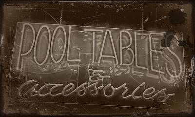 Childrens Pool Photograph - Pool Tables And Accessories - Vintage Neon Sign by Steven Milner