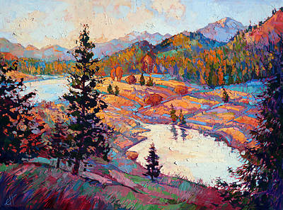 Glacier National Park Painting - Pools Of Dawn by Erin Hanson
