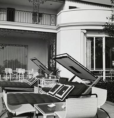 Deck Chair Photograph - Poolside Loungers At The Goetz House by Fred Lyon