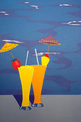 Poolside Umbrella Drinks Art Print by Karyn Robinson