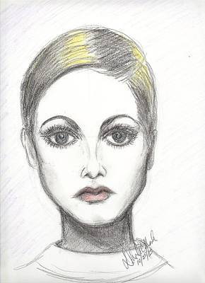 Twiggy Drawing - Pop 1025 by Deborah Marsh