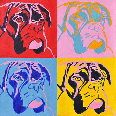 Boxer Painting - Pop Art Boxer Dog by Louise Charles-Saarikoski