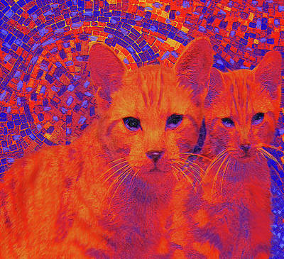 Digital Art - Pop Art Cats by Jane Schnetlage