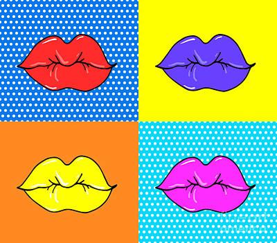 Sexy Digital Art - Pop Art Lips. Warhol Style Poster. Dot by Oksanka007