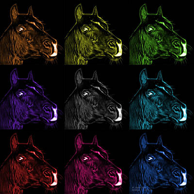 Animal Lover Digital Art - Pop Art Mosaic Arabian Horse - 1341 M - Bb by James Ahn