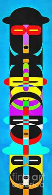 Pop Art Royalty-Free and Rights-Managed Images - Pop Art People Totem 2 by Edward Fielding