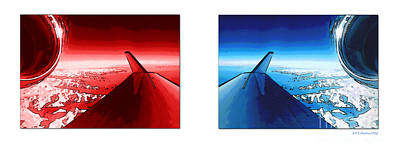 Digital Art - Red Blue Jet Pop Art Planes  by R Muirhead Art