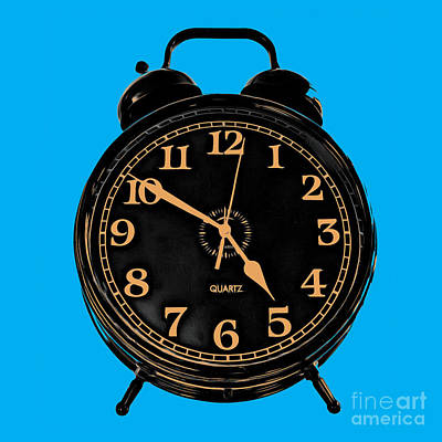 Pop Art Royalty-Free and Rights-Managed Images - Pop Art Retro Alarm Clock Blue by Edward Fielding