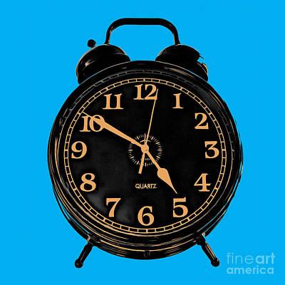 Photograph - Pop Art Retro Alarm Clock Blue by Edward Fielding
