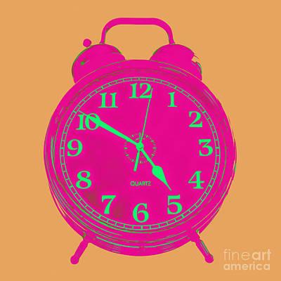 Pop Art Photos - Pop Art Retro Alarm Clock Orange by Edward Fielding