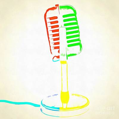 Pop Art Retro Microphone Art Print by Edward Fielding