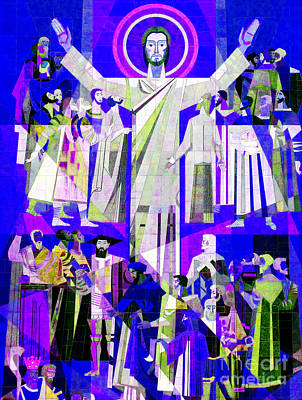 Pop Art Touchdown Jesus Mural At N D U Main Library Print by Tina M Wenger