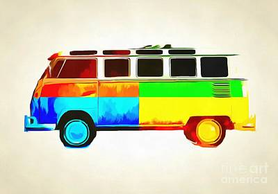 Vintage Bus Photograph - Pop Art Vw Bus Retro 2 by Edward Fielding