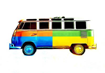 Vintage Bus Photograph - Pop Art Vw Bus Retro by Edward Fielding