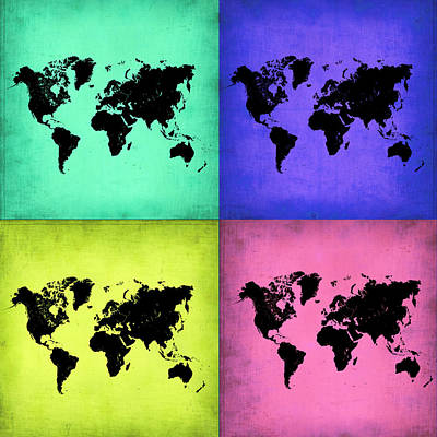Modern Poster Painting - Pop Art World Map 2 by Naxart Studio