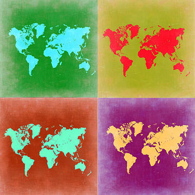 Country Map City Map Painting - Pop Art World Map 3 by Naxart Studio