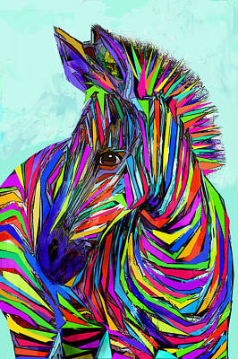 Digital Art - Pop Art Zebra by Jane Schnetlage