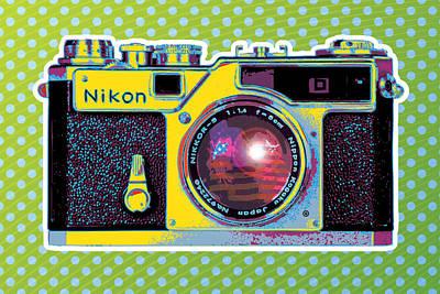 Pop Nikon Camera Art Print by Gary Grayson