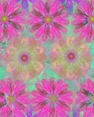 Etsy Art Mixed Media - Pop Spiral Floral 14 - by Ricki Mountain
