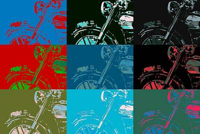 Girls Mixed Media - Popart Motorbike by Tommytechno Sweden