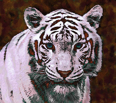 Popart White Tiger- Larger Art Print by Jane Schnetlage