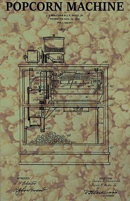 Corn Mixed Media - Popcorn Machine Poster by Dan Sproul