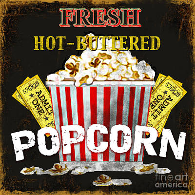 Jean Plout Digital Art - Popcorn Please by Jean Plout