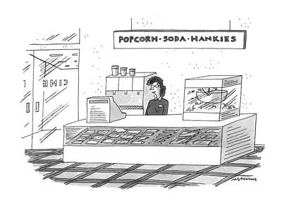 Snack Drawing - 'popcorn-soda-hankies' by Mick Stevens