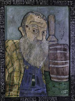 Painting - Popcorn Sutton - Heaven's Bootlegger by Eric Cunningham
