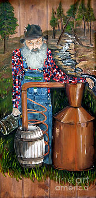 Painting - Popcorn Sutton - Moonshiner - Redneck by Jan Dappen