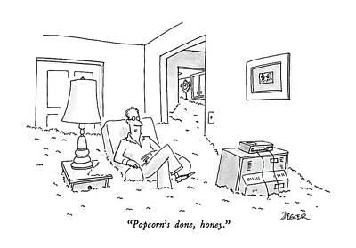 Lazy Drawing - Popcorn's Done by Jack Ziegler