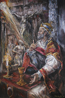Pope Benedict Xiii - Dialogue With God Print by Stefano Popovski