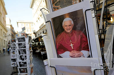 Pope Benedict Xvi. Postcard In A Rack. Rome. Lazio. Italy. Europe Art Print by Bernard Jaubert